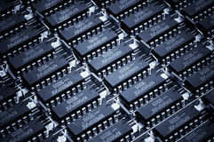 Numeri di Harmonous dei microcircuiti obsoleti Priorità bassa di tecnologia Fotografia Stock Libera da Diritti