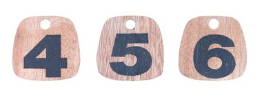 Numeri di legno 4 5 6 Immagine Stock