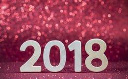 Numeri di legno bianchi del nuovo anno 2018 Fotografia Stock Libera da Diritti