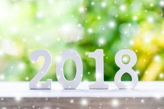 Numeri di legno che formano il numero 2018, per il nuovo anno con Sn Fotografia Stock Libera da Diritti
