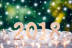Numeri di legno che formano il numero 2018, per il nuovo anno e il chr Fotografia Stock Libera da Diritti