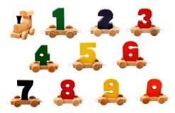 Numeri di legno isolati Fotografie Stock