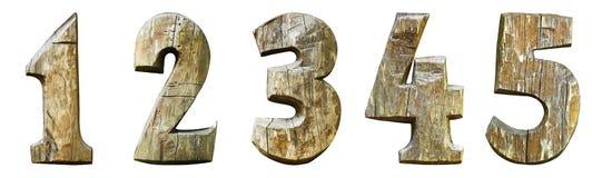 Numeri di legno isolati su un fondo bianco 12345 Fotografie Stock Libere da Diritti