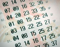Numeri di lotteria Immagine Stock