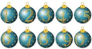 Numeri di nuovo anno sulle sfere blu Fotografie Stock