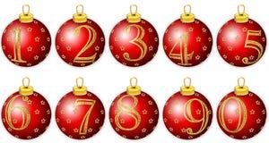Numeri di nuovo anno sulle sfere rosse Immagine Stock Libera da Diritti