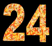 Numeri 24 di pizza con i funghi, isolato Immagine Stock Libera da Diritti