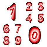 Numeri di progettazione fissati Linea d'ondeggiamento variopinta fonte strutturata Fotografia Stock Libera da Diritti