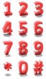 numeri di rosso 3d Fotografia Stock Libera da Diritti