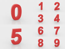 numeri di rosso 3d da 0 a 9 Fotografie Stock Libere da Diritti