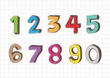 Numeri di schizzo 0-9 Fotografia Stock