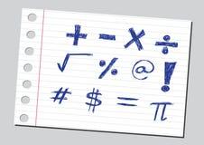 Numeri di schizzo e simboli di matematica Fotografia Stock