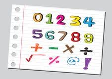 Numeri di schizzo e simboli di matematica Immagine Stock