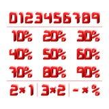 Numeri di sconto Vettore del quadrato rosso 3d Illustrazione Vettoriale