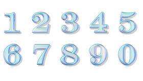 Numeri di vetro blu Fotografie Stock Libere da Diritti