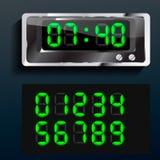 Numeri digitali d'ardore del blu di vettore Immagini Stock