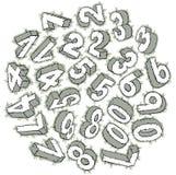 Numeri disegnati a mano 3D Fotografia Stock