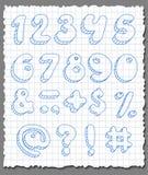 Numeri disegnati a mano fissati. Immagine Stock