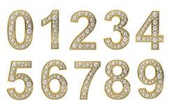 Numeri dorati con i diamanti bianchi illustrazione di stock