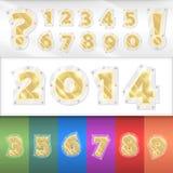 Numeri dorati di alfabeto di vettore Fotografie Stock Libere da Diritti
