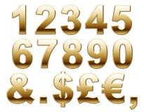 Numeri e valuta dorati Fotografie Stock