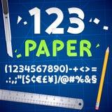 Numeri ed insieme di carta tagliati dell'attrezzatura illustrazione vettoriale