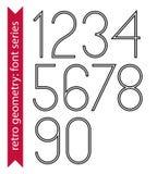 Numeri esili neri, cifre delicate di singolo colore illustrazione vettoriale