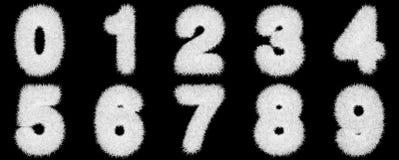 Numeri fatti del tappeto erboso dell'erba su fondo nero Fotografia Stock