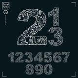Numeri fioriti di stile di ecologia, rappresentazione dei numeri di vettore Immagini Stock Libere da Diritti