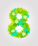 Numeri floreali Fiori verdi Illustrazione di vettore Numero 8 Immagine Stock