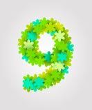 Numeri floreali Fiori verdi Illustrazione di vettore Numero 9 Fotografia Stock