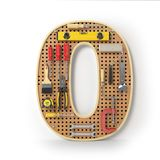 Numeri i 0 alfabeti zero dagli strumenti sull'isolante di pegboard del metallo Fotografia Stock