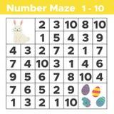 Numeri il labirinto, gioco matematico di puzzle per i bambini Immagini Stock