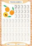 Numeri le presidenze di spiaggia 3 Foglio di lavoro di rintracciamento tre Frutta arancio della pesca Foglio di lavoro prescolare royalty illustrazione gratis