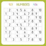 Numeri per i bambini Foglio di lavoro per l'asilo e la scuola materna Formazione per scrivere e contare i numeri Esercizi per i b illustrazione vettoriale