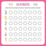 Numeri per i bambini Foglio di lavoro per l'asilo e la scuola materna Formazione per scrivere e contare i numeri Esercizi di colo illustrazione vettoriale