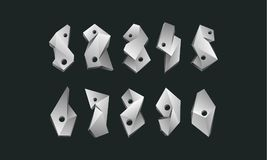 Numeri poligonali bianchi fissati Poli fonte bassa astratta di numeri su un fondo nero Fotografia Stock Libera da Diritti