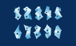 Numeri poligonali del ghiaccio fissati Fonte vetrosa astratta di numeri Fotografia Stock