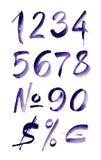 Numeri porpora scritti mano dell'acquerello Illustrazione di vettore Fotografia Stock