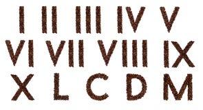 Numeri romani da caffè Fotografie Stock Libere da Diritti
