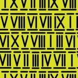Numeri romani sul modello senza cuciture giallo Immagine Stock Libera da Diritti