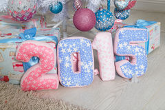 Numeri rosa e blu 2015 del tessuto Fotografia Stock