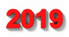 Numeri rossi 3d di anno 2019 con ombra isolata sul orthogo bianco- royalty illustrazione gratis