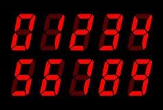 Numeri rossi di Digital per lo schermo elettronico dell'affissione a cristalli liquidi illustrazione di stock