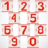 Numeri rossi tricottati annata fissati Fotografie Stock Libere da Diritti