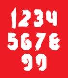 Numeri strani di vettore bianco scritto a mano, cifre alla moda illustrazione di stock