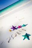 Numeri 2014 sulla spiaggia sabbiosa bianca Fotografia Stock Libera da Diritti