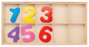 Numeri in una scatola. Isolato. Fotografie Stock