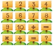 Numeri uno - dieci sul bordo di legno royalty illustrazione gratis