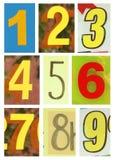 Numeri uno - nove Fotografia Stock Libera da Diritti